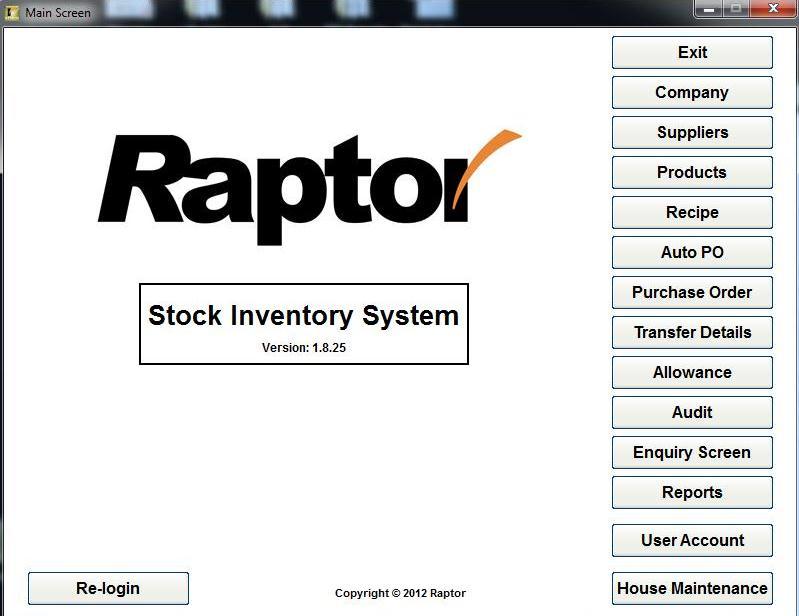 raptor inventory main